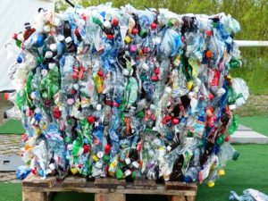 Dissolvable plastics -plastic bottles stacked together
